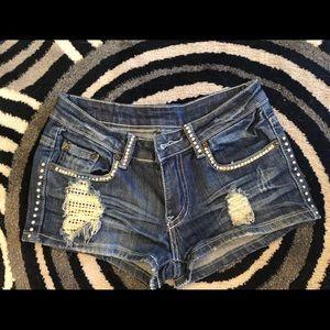 A7 Armani and swarovski crystal jean shorts